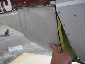 Door temporarily installed showing the gap to be covered by the two fairings.
