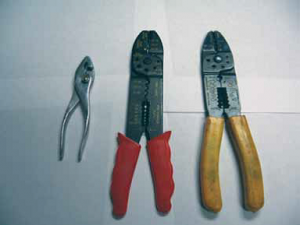 The pliers on the left are often used to produce very poor crimps. The two other tools will produce good crimps if the operator uses them correctly.