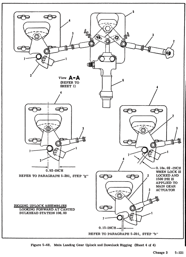"""""""This is very similar to the 210K system, but the devil can be in the details. Note the main gear uplock system in the rear wheel well area is exposed to all the mud, water, rocks and other implements of distruction that are slinging off the tires. It's an area in need of continuous inspection and lubrication."""""""